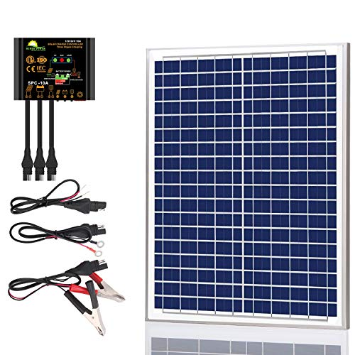 SUNER POWER 20 Watts Poly Crystalline 12V Solar Panel Kits - Waterproof 20W Solar Panel + Upgraded 10A Solar Charge Controller + 3-PCS SAE Cable Adapters for Car RV Marine Boat Trailer Off Grid System