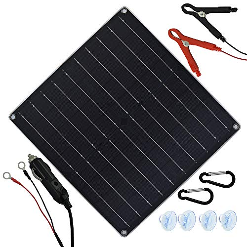 TP-solar 20 Watt 12 Volt Solar Trickle Charger 20W 12V Solar Panel Car Battery Charger Portable Solar Battery Maintainer + Cigarette Lighter Plug Alligator Clip O-ring Terminal for Car Boat Motorcycle