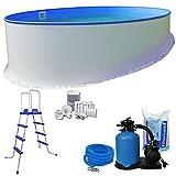 Rundpool-Set KOMFORT Ø5,00 x 1,20m rund - 0,6mm Stahlmantel + 0,6mm Innenhülle (blau) mit Einhängebiese - inkl. Einstiegsleiter, Schlauch-Set, hochwertige 6,0m³/h Sandfilteranlage, 25 kg Sand, Skimmer-SET, etc.