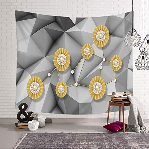 Daesar Tapiz Decoracion,Tapiz Decoracion Flores 3D Patrón de Geométrico Poliéster Tapiz Pared Nordico Oro Gris,300x260CM
