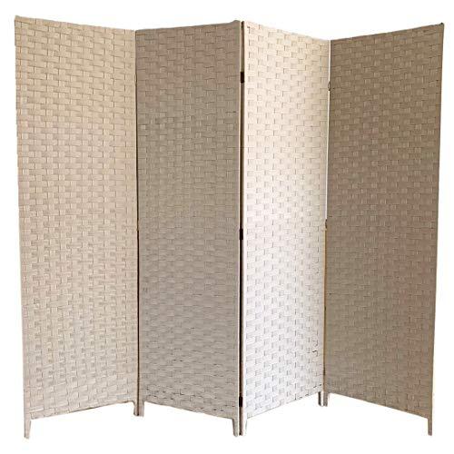 Biombo Felpa Separador de Ambientes 4 Paneles 200x180 cm (Largo x Alto) Color Crema. Incluye 1 Unidad