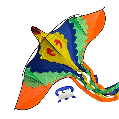 """INYO MASAYA Kites for Kids Easy to Fly - Colorful Bird Design Kid's Kite - Easy Assembly Long Tying String w/ Hand Grip / Hook for Outdoor Play - 77 x 32 Inches w/ 118"""" Tail - Plus Carry Case"""