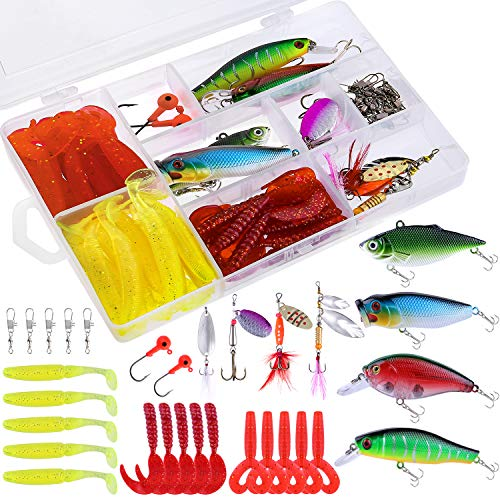 TOPFORT Fishing Lures, Fishing Spoon,Trout Lures, Bass Lures, Spinning Lures,Hard Metal Spinner Baits kit with Carry Bag…… (51PCS Fishing Lure with Box)