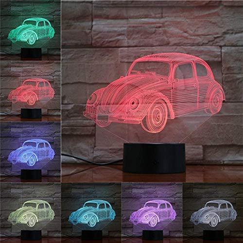 JJIEZZ Luz de Noche 3D Escarabajo Luz de Coche Decoración del hogar Regalos Novedad Decoración de Navidad RGB Multicolor Cambiable