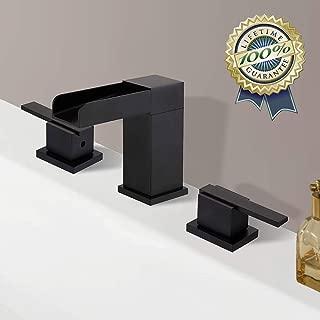 BULUXE Waterfall Bathroom Sink Faucet in Matte Black, Modern Widespread 3 Holes Double Handles Right-Angled Deck Mounted Bathroom Sink Faucet