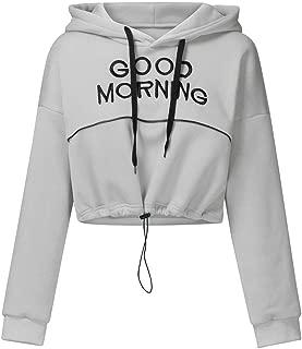 aihihe Womens Crop Top Hoodies Pullover Casual Drawstring Long Sleeve Letter Printed Sport Sweatshirt Blouses Tunic