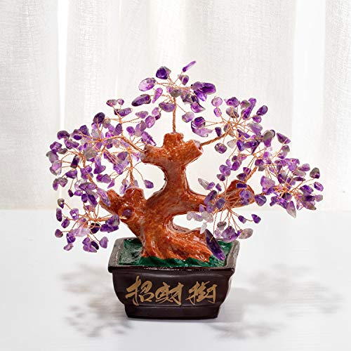 Amethyst Stones Natural Crystal Money Tree Feng Shui Decor Home Office Good Luck Bonsai Tree Decoration ,Good Gifts for Moms and Friends. (6.2)