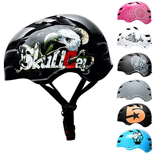 Skullcap® BMX & Skaterhelm - Fahrradhelm - Herren Damen Jungs & Kinderhelm, schwarz Glanz, Gr. L (58-61 cm), Eagle