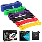 KMM Pull up Resistance and Assist Bands, Workout Bands | Powerlifting Bands,Mobility Stretch Bands,Exercise Band for Body Fitness Training,Chin Ups, Stretch… (six Color)