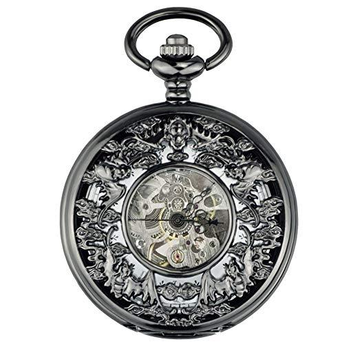 ZHJBD JIAN Pocket Watch, Bat Hohle Taschenuhr, Vintage Taschenuhr Automatische Mechanische Flip-Alten Tisch Schüler Hängen Die Tabelle Antiken Tisch Zu Gedenken. (Color : 1)