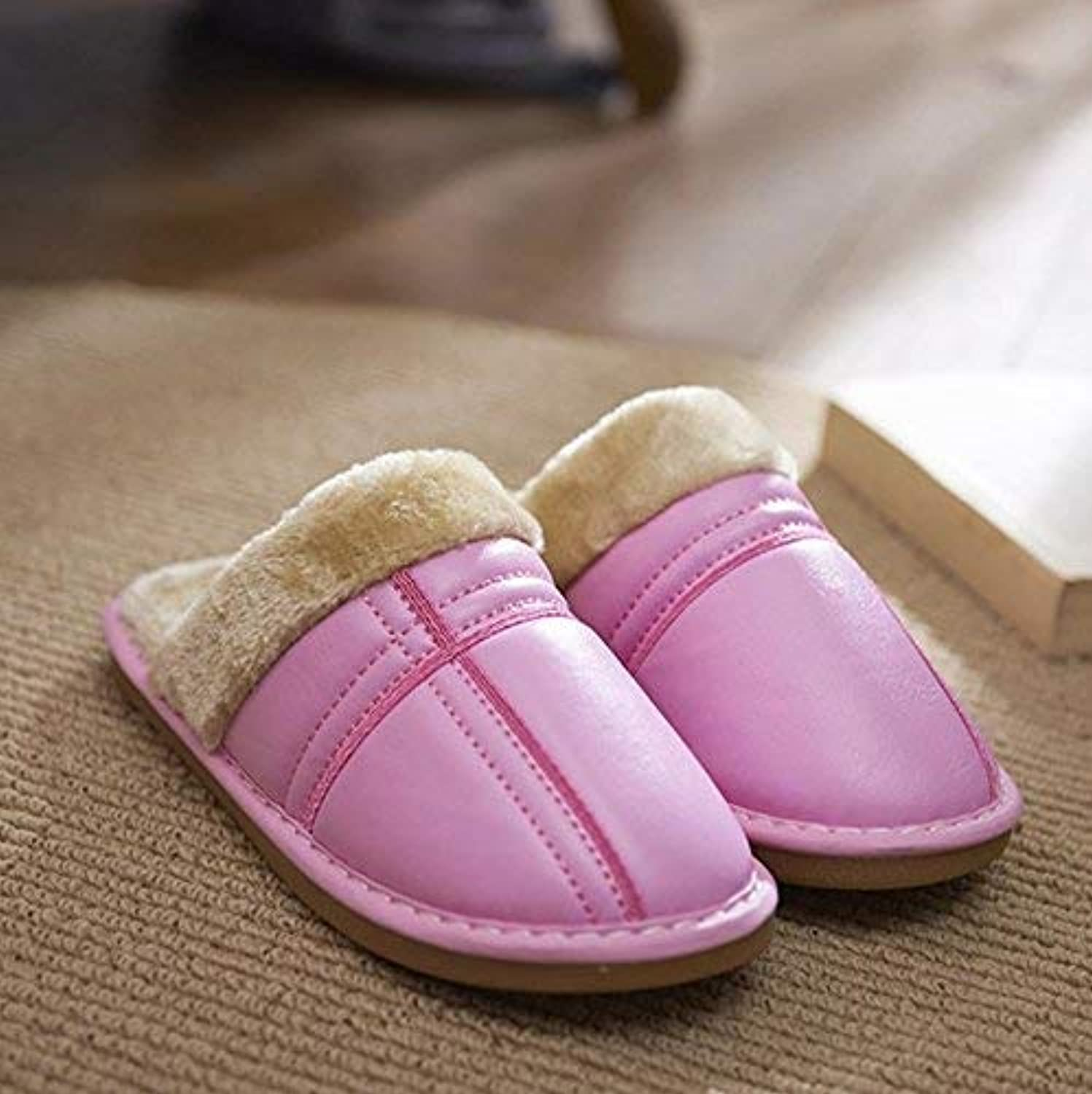 JaHGDU Ladies Thermal Slippers Casual Faux-Leather Slippers Pink Leather Keep Warm in Winter and Autumn Home and Leisure Indoor shoes