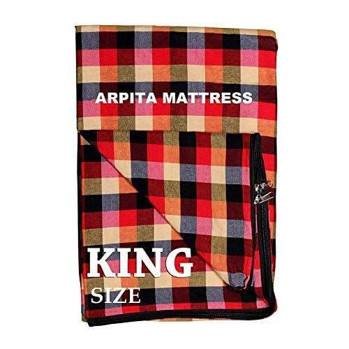 Shri krishan kripa handloom Cotton Mattress Covers for Double Bed King Size(78X72X4-inches, Multicolour)