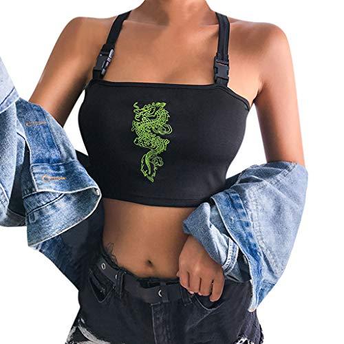 Cinese Drago Crop Top Donna Ragazza Sexy Camiciola Moda Manica Corta Mini Tank Tops (S, Nero)