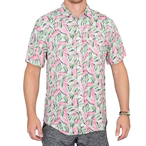 Adult Halloween Tropical Hopper Costume Hawaiian Button Down Shirt (Large)