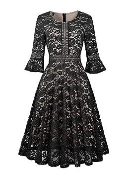 Cocktail Dress Lace Swing Vintage Tea Length Formal Dresses for Women Black X-Large