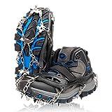 ZAFIELD アイゼン スパイク 19本爪 登山 雪山 トレッキング 簡単装着 収納袋付き 男女兼用 (ブラック, M)