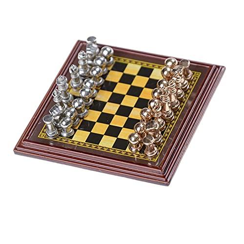 WXY-DE Juego de ajedrez de madera con tablero de ajedrez, juego de exterior clásico, aleación de zinc, figuras de ajedrez