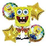 Palloncini per Feste Caland 5 Pezzi Spongebob Party Balloons Supplies Palloncini in Foglio di Alluminio per Feste di Compleanno di Forniture for Kids Birthday Party Decorations