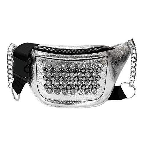 junfeng Sac Ceinture Women PU Leather Street Rhinestones Rivets Street Style Belt Bags Zipper Phone Purse Waist Packs