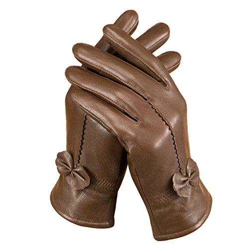 Tininna - Guantes para mujer o niña, con piel de cordero, impermeables, para invierno o motociclista marrón Tamaño libre
