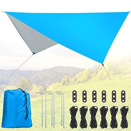 Idefair Tenda da campeggio Telo, Tenda impermeabile Telo leggero Riparo in tela Amaca Telo antipioggia Protezione UV Riparo Impronta per campeggio all'aperto Zaino Escursionismo Spiaggia