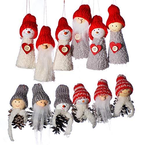 Shanke anaoo 12pcs Adornos decoración Colgante muñecos Papá Noel para árbol de Navidad decoración de Fiesta de Navidad-Merry Xmas Regalo