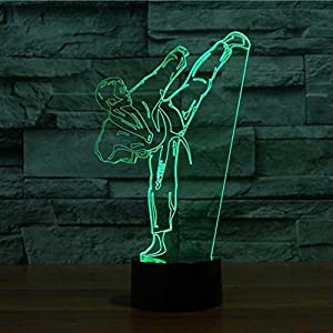 3D Gradient Karate Taekwondo Night Light 7 Color Change LED Table Desk Lamp Acrylic Flat ABS Base USB Charger Home Decoration Toy Brithday Xmas Kid Children Gift