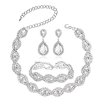3 Pack Crystal Rhinestone Choker Necklace Link Bracelet Teardrop Dangle Earrings Jewelry Sets for Women Girls Womens Bridal Wedding Bridesmaid Party Birthday Prom Jewelry Gift.