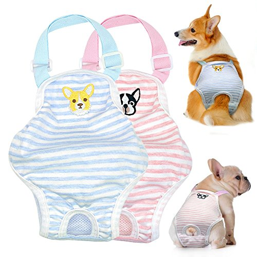 Stock Show 1PC Dog Cute Summer Cotton Stripe Sanitary Pantie with Adjustable Strap Suspender Physiological Pants Pet Underwear Diapers Jumpsuits for Girl Dogs Medium Large Corgi French Bulldog, Pink