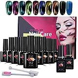 8ml Cat Eye Nagellack Set, TwoWin 9D Magnet Katzenauge Gel 8 Farben UV LED Gel mit Schwarzer, Dunkelblauer Grundfarbe, Decklack & Grundlack, 2 Magnetstifte
