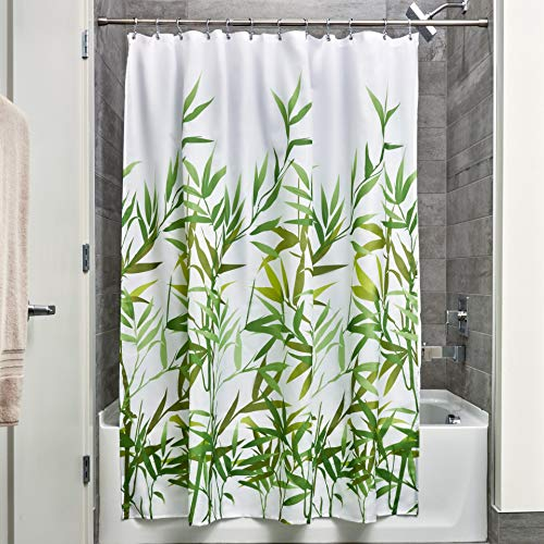 Price comparison product image iDesign Anzu Fabric Shower Curtain,  Polyester Shower Screen with Garden Pattern Design,  Green