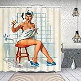 Duschvorhang,Hocker Taube Sexy Retro Pinup Girl,Enthält 12 Duschvorhanghaken waschbar,Wasserdicht Bad Vorhang für Badezimmer Badewanne 150X180cm