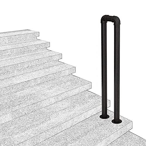Pasos al aire libre industrial escalera pasamanos metal pasamanos transicional pastizas en forma de usuario pasamanos pasamanos para pasos exteriores barandilla de escalera negra Rieles de mano, para