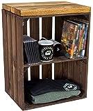 Baúl con asiento, mesa de almacenamiento, caja de fruta Johanna y tablas de madera maciza, zapatero, taburete de madera, dimensiones 40 x 29 x 50 cm (largo x ancho x alto) (flameado)
