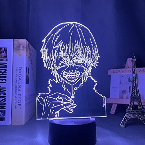 Lámpara de noche 3D lámpara de ilusión de anime Lámpara 3D de Anime Tokyo Ghoul Ken Kaneki para Decoración de Dormitorio Nightlight Cool Cumpleaños Regalo Acrílico LED Night Light Tokyo Ghoul ZMSY