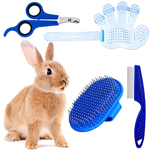 4 Pieces Rabbit Grooming Kit with Rabbit Grooming Brush, Pet Hair Remover, Pet Nail Clipper, Pet...