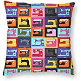 Máquina de Coser Hard Anti-Scratch & Fingerprint Square Home Decorativo Throw Pillow Case Funda de cojín Funda de Almohada Decoración