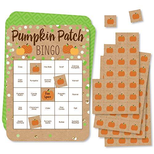 Big Dot of Happiness Parche de calabaza – Tarjetas de bingo y marcadores – Juego de bingo de fiesta de otoño o Acción de Gracias – Juego de 18
