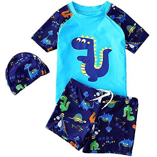 G-Kids Kleinkinder Jungen Bademode Badeanzug Schwimmbekleidung Uv-Schutz Dinosaurier Bade-Set Kurz Tops+Badehose mit Hut (Blau, 1-2 Jahre)