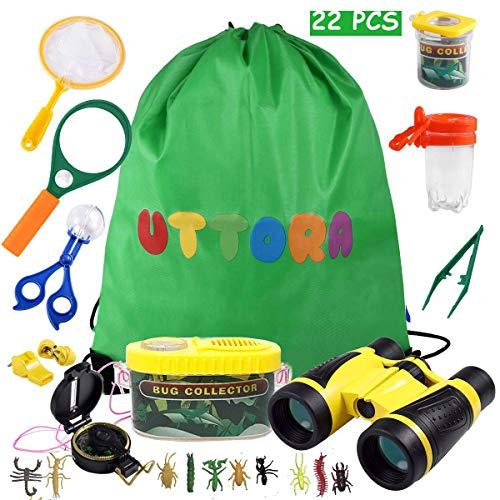 UTTORA Draussen Forscherset Spielzeug, Kinder fernglas 22 Stück Kids Adventurer Explorer Set mit Bug Catcher Pinzette Insect Viewer Kompass Lupe & Schmetterlingsnetz für Camping Fernrohre Mikroskope