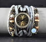 Ethno Style weiße Lederarmbanduhr mit Opal Stein und Schlüssel - Bronze Edelstein Holz Hippie Festival Tolle Geschenkidee Boho Stil Trend Handmade