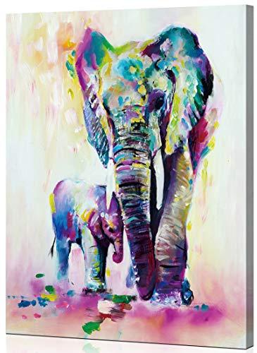 WONZOM [con Marco de Madera Kit de Pintura por Números, DIY Pintura al óleo para Adultos y Niños Principiantes, Elefantes Coloridos Padre-Hijo Animales 16 * 20 Pulgadas