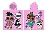 Carbotex LOL Surprise - Poncho da bagno per bambina, 50 x 115 cm, con cappuccio, in cotone L.O.L. bambole, colore: rosa