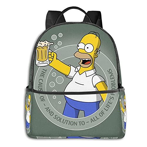 Simpson Homer - Mochila unisex para estudiantes, mochila escolar, estilo informal, clásica, para niños y niñas, 36,8 x 30,5 x 12,7 cm