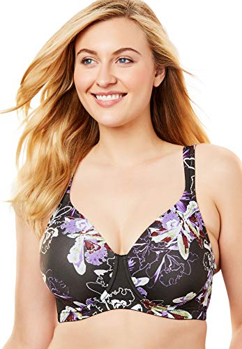 LEADING LADY Molded Padded Seamless Underwire Full Figure Bra, Glowing Floral, 54F