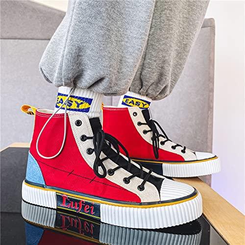 1pcs Hombre Estudiante Versión Anime Zapatillas altas y bajas de lona roja Todo-fósforo,Zapatos de lona casuales cómodos,Zapatos deportivos transpirables para caminar al aire libre (High-top,39)