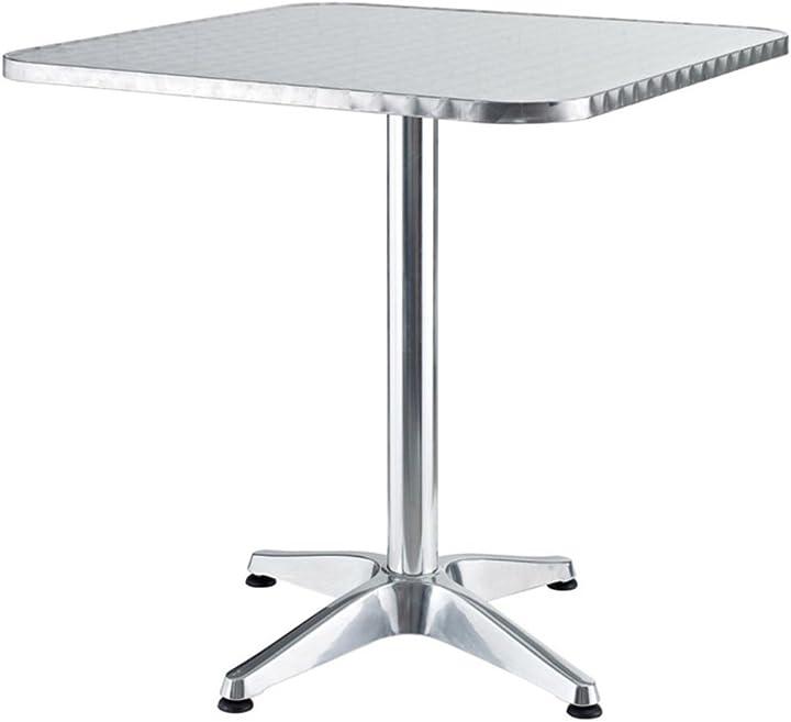 tavolo alluminio Verdelook tavolo da giardino quadrato in alluminio, 60x60x70 cm, per arredo esterni 780/49