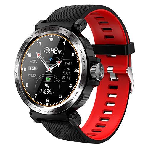 LZXMXR Reloj inteligente, deportivo IP68 resistente al agua de 1.3 pulgadas con pantalla táctil para hombres y mujeres, reloj inteligente para iOS Android (color negro y rojo)