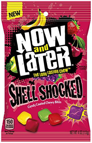 Now & Later Shell Shocked Chewy Bites Candy, Mixed Fruit, 4 Ounces (Pack of 12)