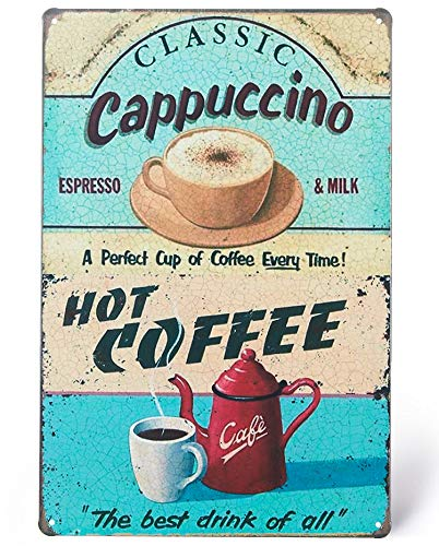 UNIQUELOVER Coffee Bar Signs, Classic Cappuccino Hot Coffee Vintage Metal kitchen Signs Wall Decor 8 X 12 Inches, Small